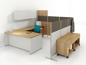 Pangram Modern Office Workstation Cluster Of 1 With Mobile Utility And Hutch