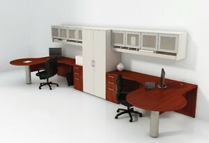 Options Modern Office Workstation Cluster Of 2 With Storage And Hutches