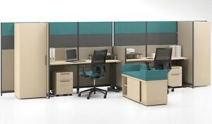 Quorum Modern Office Workstation Cluster Of 2 With Storage And Pedestals