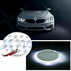 1x 82mm Emblem Led White Background Logo Light For Bmw 3 4 5 6 7 X M Z Series