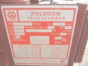 Polygon 5h1 10g 3 Type Ann 10kva Transformer 12470 Prim 120 240 Sec 1phase