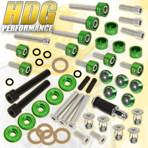 D15 D16 Honda Manifold Header cam Cap m8 Fender valve Cover Washers Kit Green
