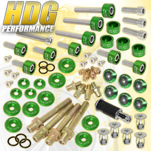 B16 B18 Honda Manifold Header cam Cap m8 Fender valve Cover Washers Kit Green