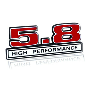 5 8 Liter 351 Windsor Engine High Performance Emblem Logo In Red Chrome Trim