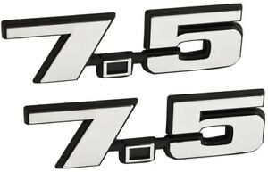 7 5 Liter 460 Ford Big Block V8 Engine Logo Emblems W Chrome Black Trim Pair