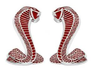1979 2004 Ford Mustang Cobra Snake Red Chrome Fender Emblems 2 3 4 Pair