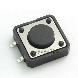 500pcs 12 12 4 3mm Smt Smd Tact Switches Pushbutton Copper Feet Round Head 4legs