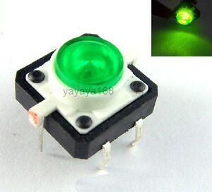 100pcs Illuminated Green Led Light Momentary Tact Switch Pushbutton 12x12mm Dip