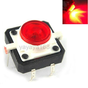 100pcs Illuminated Dip Tact Switches Red Led Light Momentary Pushbutton 12x12mm