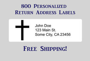 800 Printed Personalized Return Address Labels 1 2 X 1 3 4 Inch With Cross