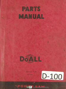 Doall C 58 Automatic Band Saw Parts Lists Manual