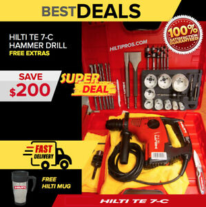 Hilti Te 7 c Hammer Drill Great Condition Wood Set Durable Lightweight
