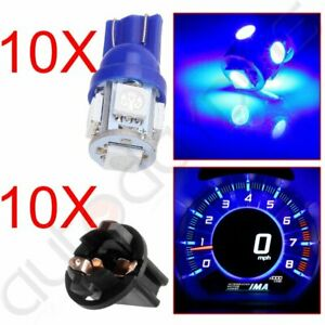 10x Blue T10 194 Led Bulbs For Instrument Gauge Cluster Dash Light W Sockets