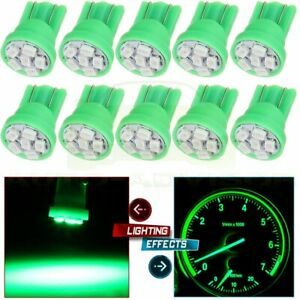 10x Green T10 Led Bulb Instrument Cluster Panel Light Lamp W Sockets For Ford