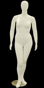 Plus Size Female Mannequin Egg Head Women Clothing Display Glossy White New