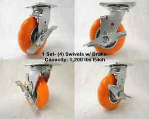 6 X 2 Swivel Caster With Brake Apex Polyurethane Wheel 1200lbs Ea Tool Box 4