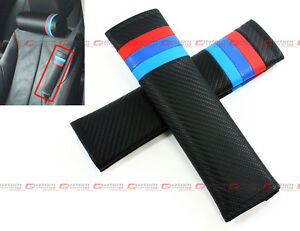 M Tech M Colorway Blue Red Carbon Fiber Leather Seat Belt Shoulder Pad Cover X 2