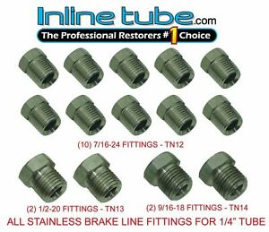 Stainless Steel Tube Fittings Nuts 1 4 Tubing 45 Inverted Flare Set Kit Fps02