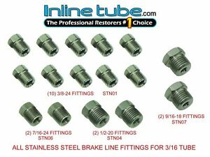 Stainless Steel Tube Fittings Nuts 3 16 Tubing 45 Inverted Flare Set Kit Fps01