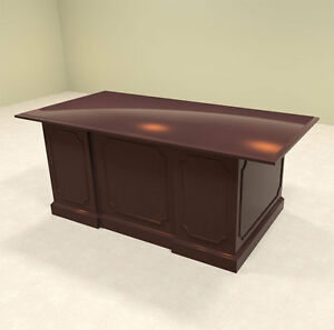 4pc Wood Traditional Rectangular Executive Office Desk Set of tra d1
