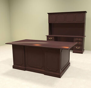2pc Wood Traditional Executive Office Desk Set of tra d5