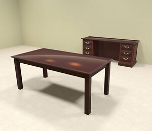 2pc Wood Traditional Executive Office Desk Set of tra d6