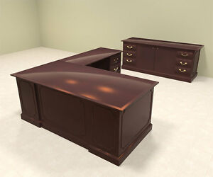 2pc Wood Traditional L Shaped Executive Office Desk Set of tra l2