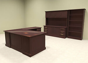 3pc Wood Traditional L Shaped Executive Office Desk Set of tra l4