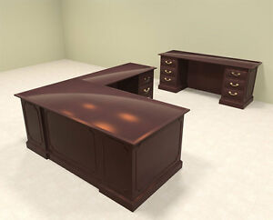 2pc Wood Traditional L Shaped Executive Office Desk Set of tra l5