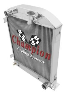 1932 Ford Coupe 3 Chopped Champion 2 Row Aluminum Radiator For Chevy V8 Ec1009