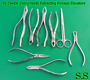 52 Dental Instruments Extracting Forceps Elevators Pliers Scissor Rongeur Dn 578