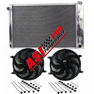 3row Full Aluminum Radiator For 1981 1991 Chevy Truck 21 X 33 2x14 Fans