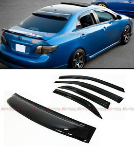 For 2009 13 Toyota Corolla Jdm Smoke Tinted Rear Roof Door Window Visor Combo