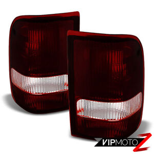 For 93 97 Ford Ranger dark Wine Red Rear Brake Signal Tail Lights Tail Lamps