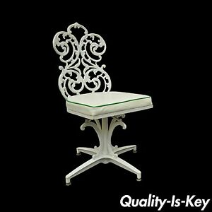 Vintage Victorian Style Woodard Outdoor Patio Cast Aluminum Swivel Side Chair