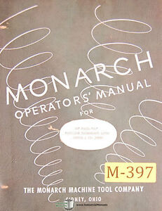 Monarch 10 Ee Precision Toolmakers Lathe Operations And Parts Manual 1953