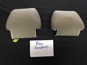 2013 Ford Mustang Convertible Tan Cloth Upholstery Rear Headrest Covers Only