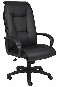 Boss Office Products Leather Plus Padded Arm And Knee Tilt Executive Chair
