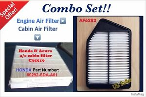 Combo Set For Honda Accord Acura Tlx 4cyl 2 4l Cabin Engine Air Filter 13 17