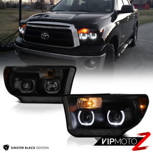 For 07 13 Toyota Tundra Trd Style Angel Eye Led Drl Headlights Sinister Black