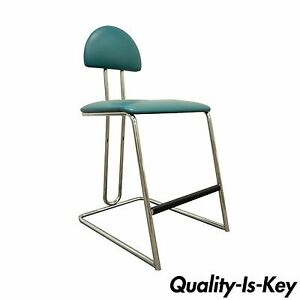 Vintage Loewenstein Modern Memphis Style Blue Chrome Counter Bar Stool Chair