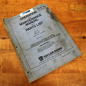 Taylor dunn Mr 534 03 Operation Maintenance Manual With Parts List Used