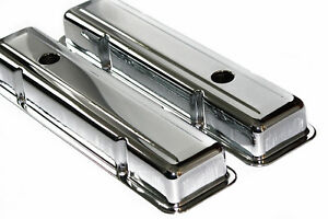 Sbc Chrome Steel Short Valve Covers 55 57 Chevy Staggered Bolt Holes