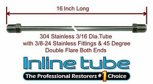 3 16 Brake Line 16 Inch Stainless Steel 3 8 24 Tube Nuts 45 Degree Double Flare