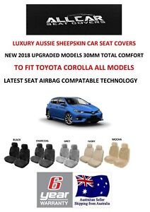 Sheepskin Car Seat Covers To Fit Toyota Corolla All Models Airbag Safe 30mm