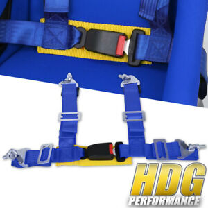 Universal 2 Wide Blue Nylon 4 Point Buckle Seat Harness Belt With Yellow Strap