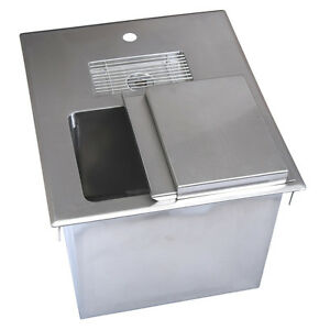 Drop In Ice Bin W Water Station 18 w X 21 d X 13 h Bk diwsbl 2118x