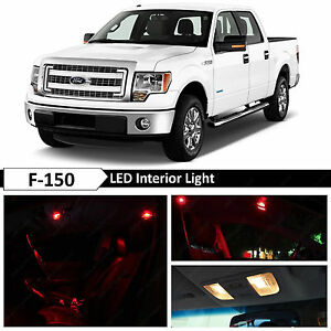 13x Red Interior Led Lights Package Kit For 2009 2014 Ford F 150 F150