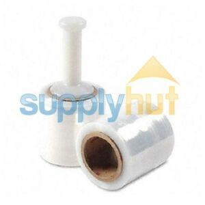 5 In X 1000ft 80 Gauge 4 Rolls Stretch Shrink Film Hand Wrap Handle