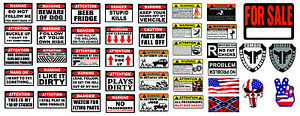 R c 1 10 Scale Warning Body Decal Stickers Sheet Oem Crawler Graphic Off Road Rc